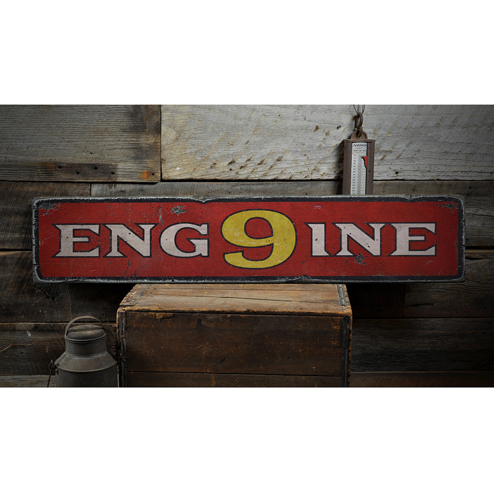 Engine Number Vintage Wood Sign