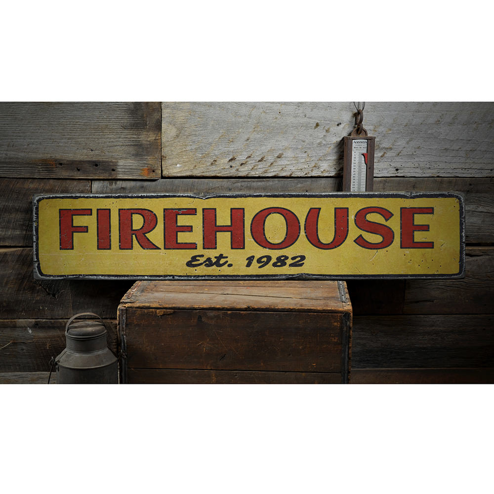 Firehouse Established Date Vintage Wood Sign