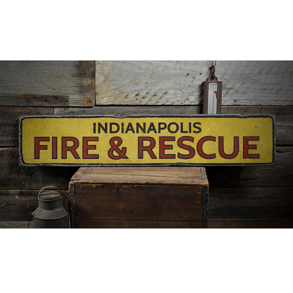 City Fire & Rescue Vintage Wood Sign