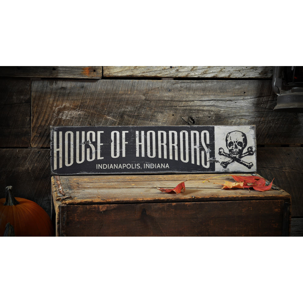 House of Horrors Vintage Wood Sign