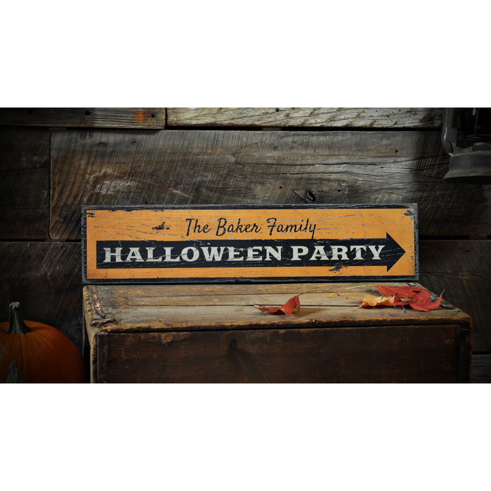Halloween Party Vintage Wood Sign