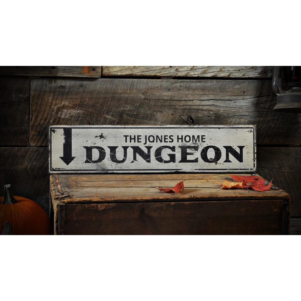 Dungeon Vintage Wood Sign