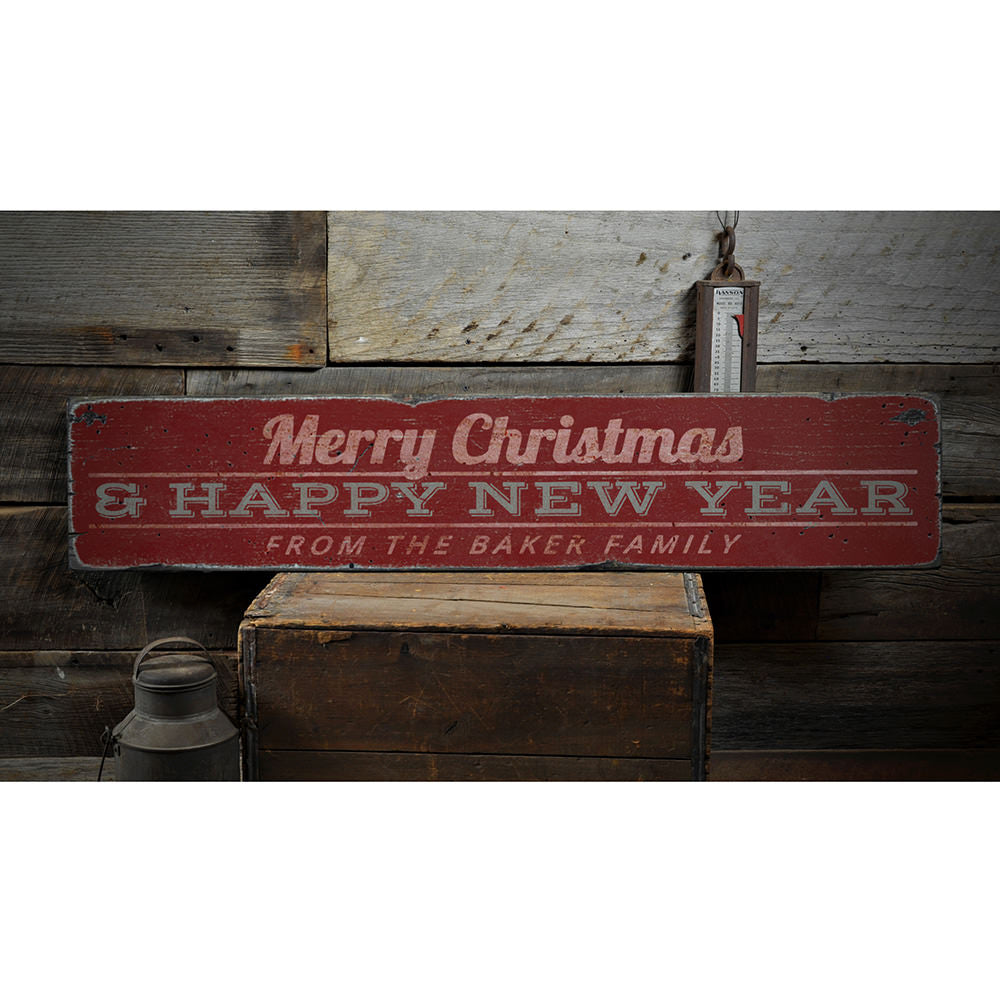 Merry Christmas & Happy New Year Family Vintage Wood Sign