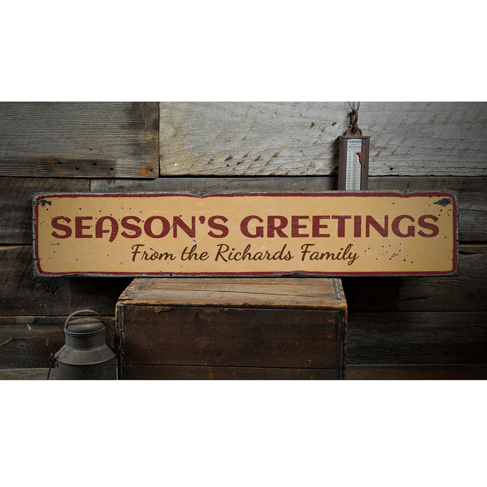 Season's Greetings Family Name Vintage Wood Sign