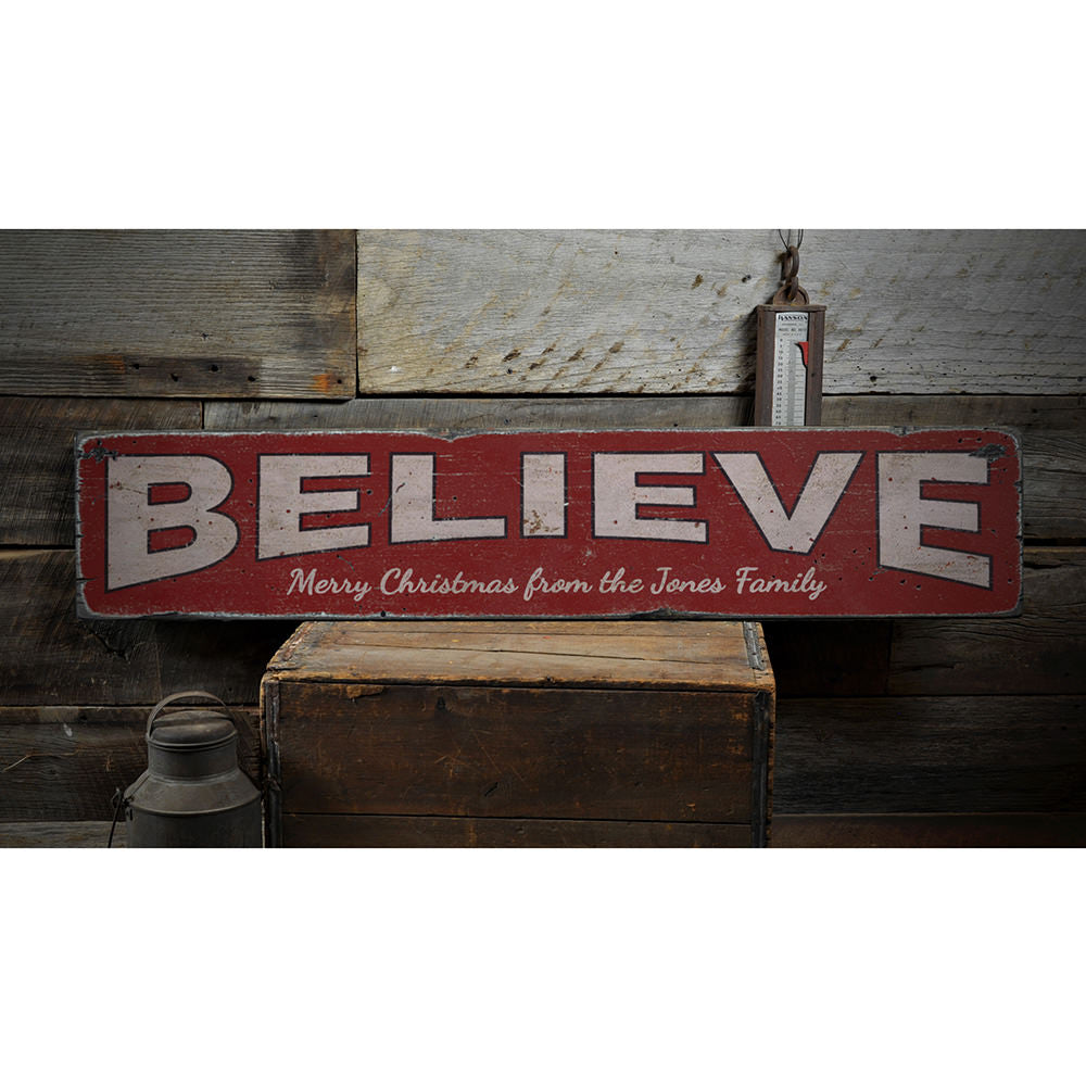 Believe Family Vintage Wood Sign