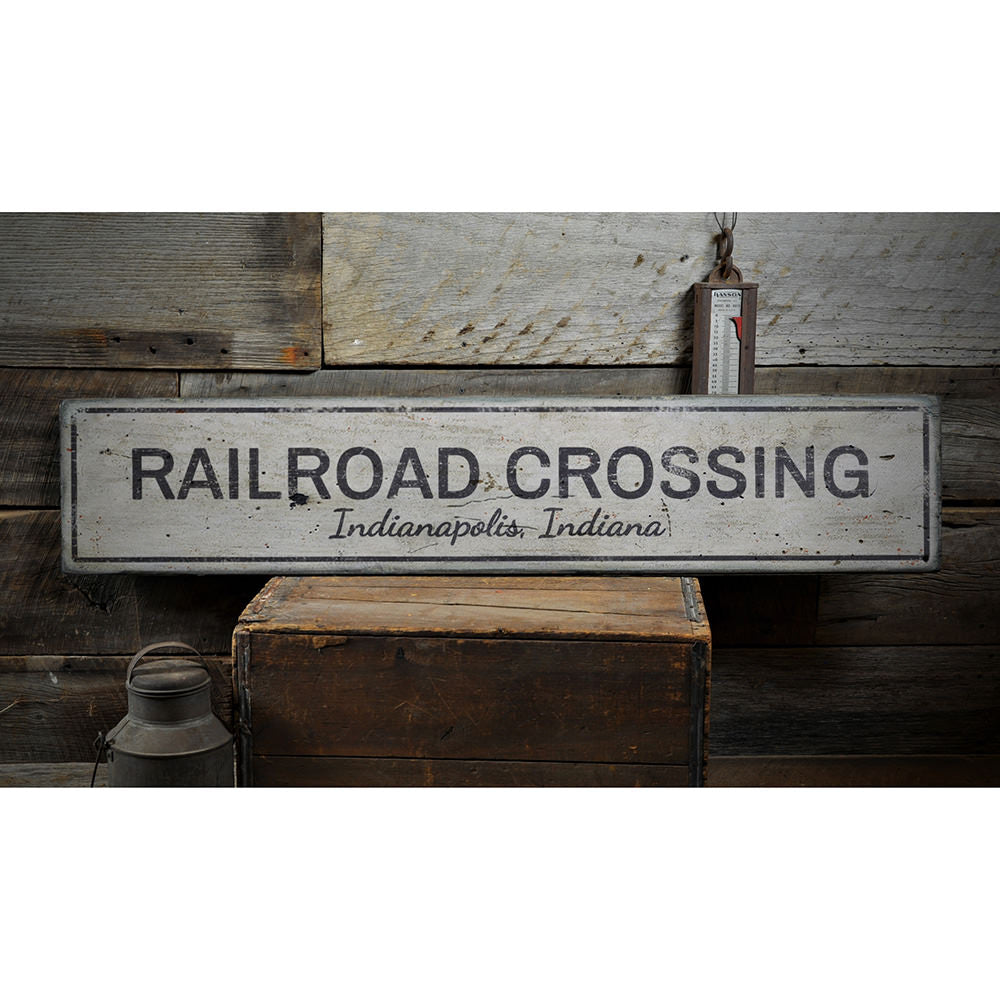 Railroad Crossing Vintage Wood Sign