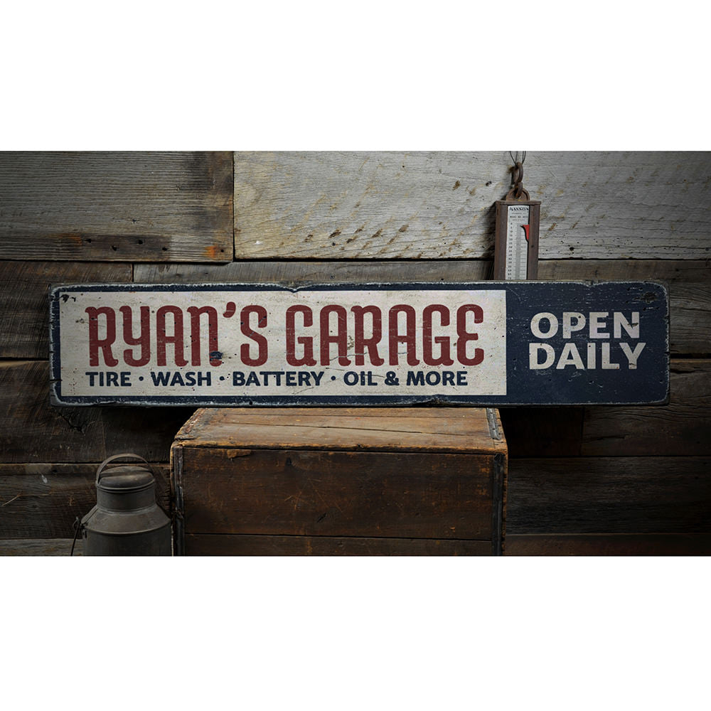 Garage Open Daily Vintage Wood Sign