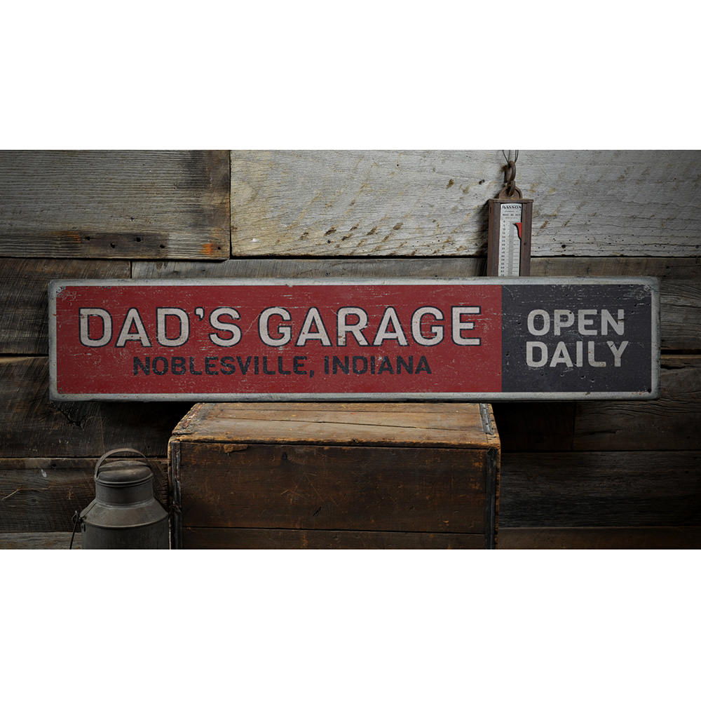 Dads Garage Open Daily Vintage Wood Sign