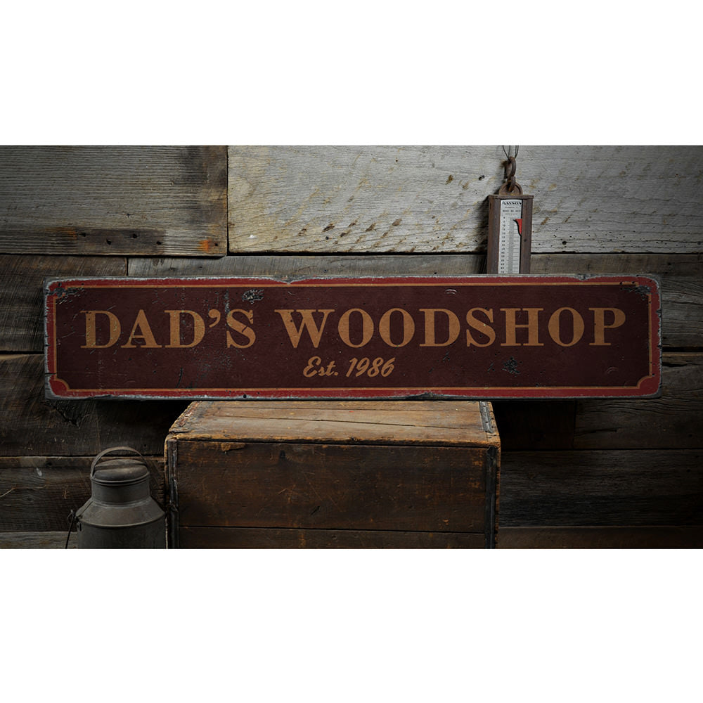 Dad's Woodshop Vintage Wood Sign