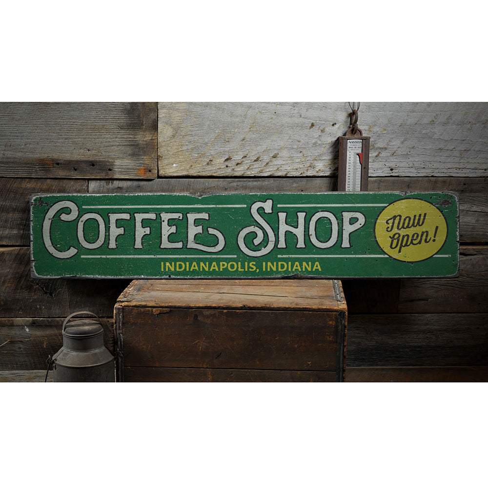 Coffee Shop Location Vintage Wood Sign