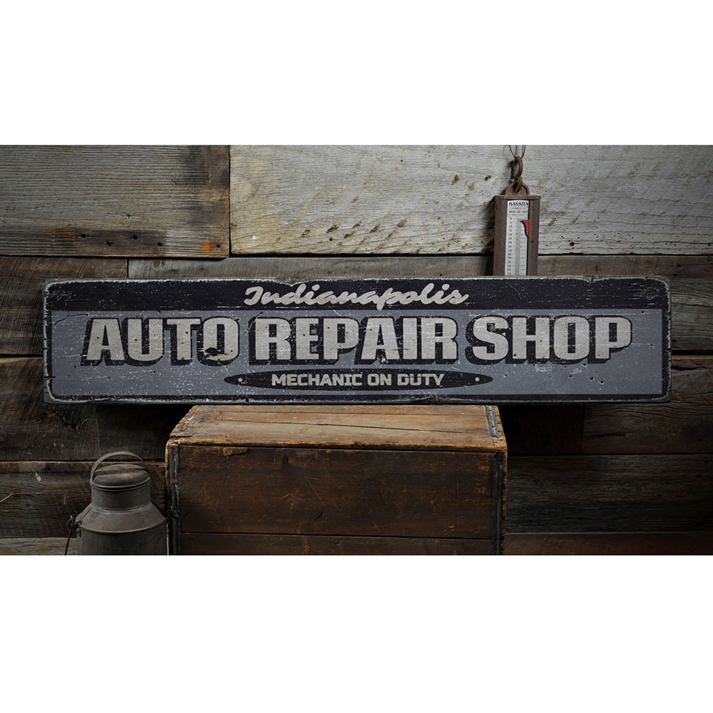 Auto Repair Shop Vintage Wood Sign