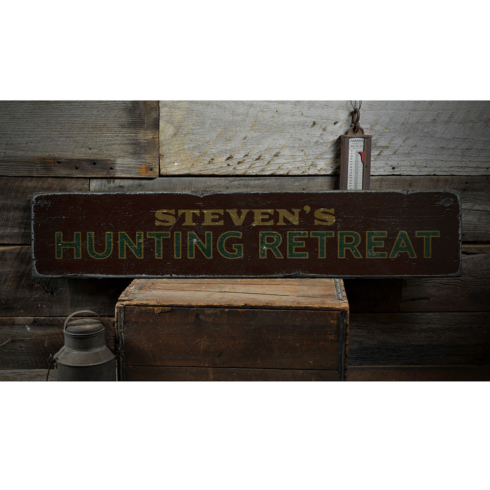 Hunting Retreat Vintage Wood Sign