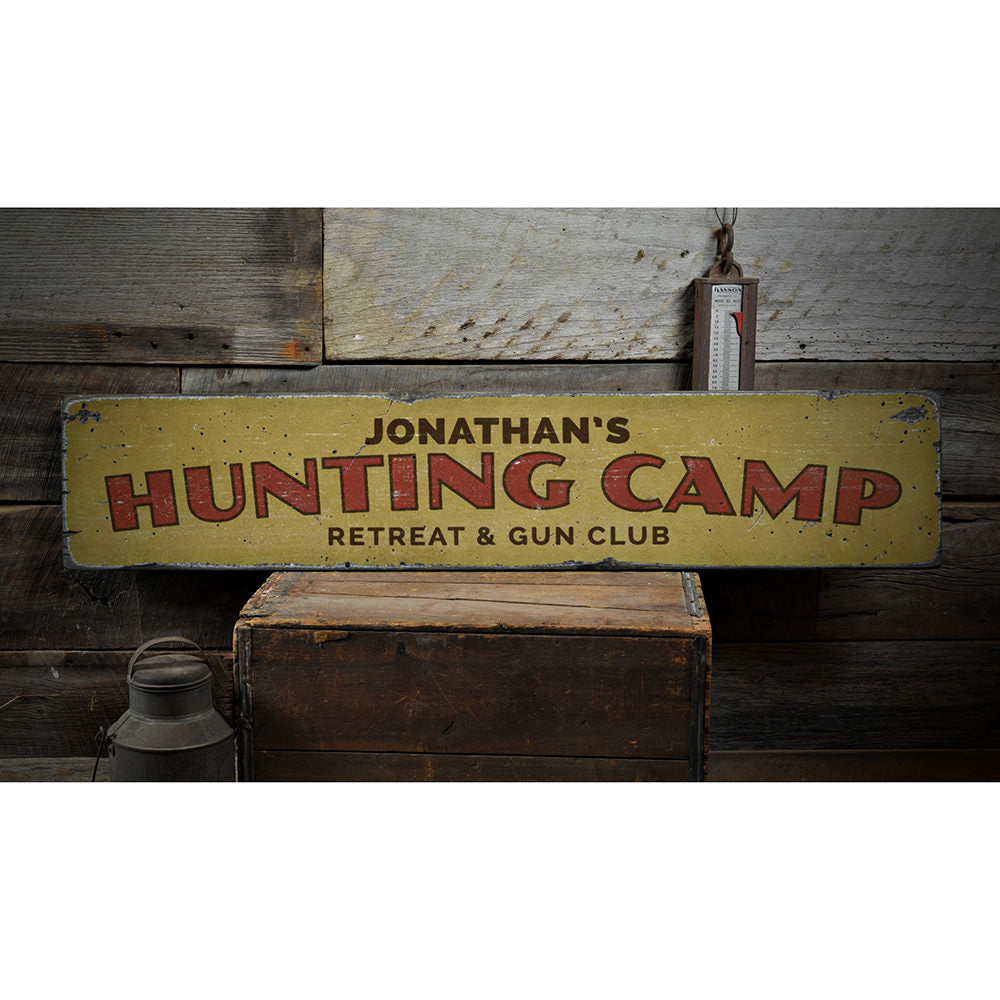 Hunting Camp Retreat Vintage Wood Sign