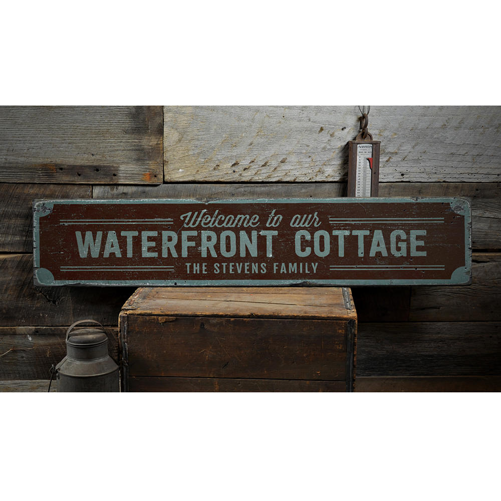 Waterfront Cottage Vintage Wood Sign
