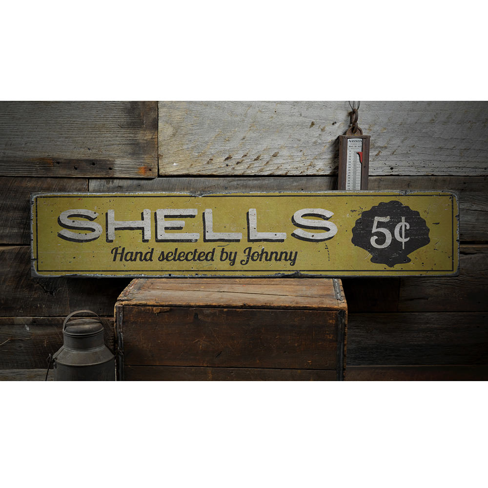 Shells 5 Cents Vintage Wood Sign