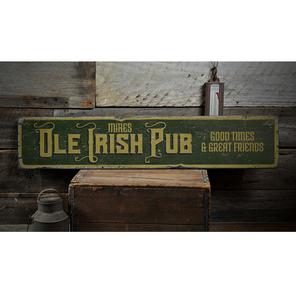 Ole Irish Pub Vintage Wood Sign