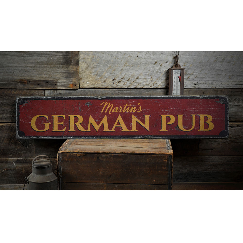 German Pub Vintage Wood Sign