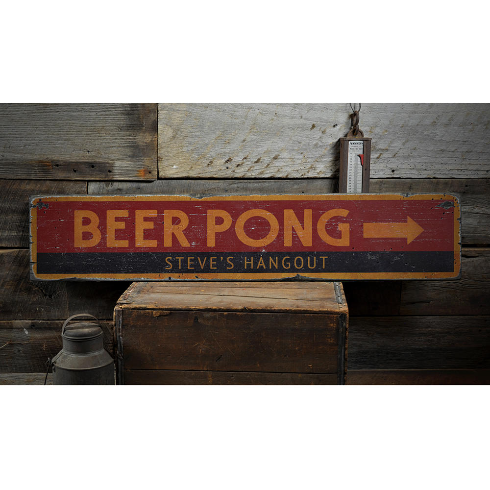 Beer Pong Arrow Vintage Wood Sign