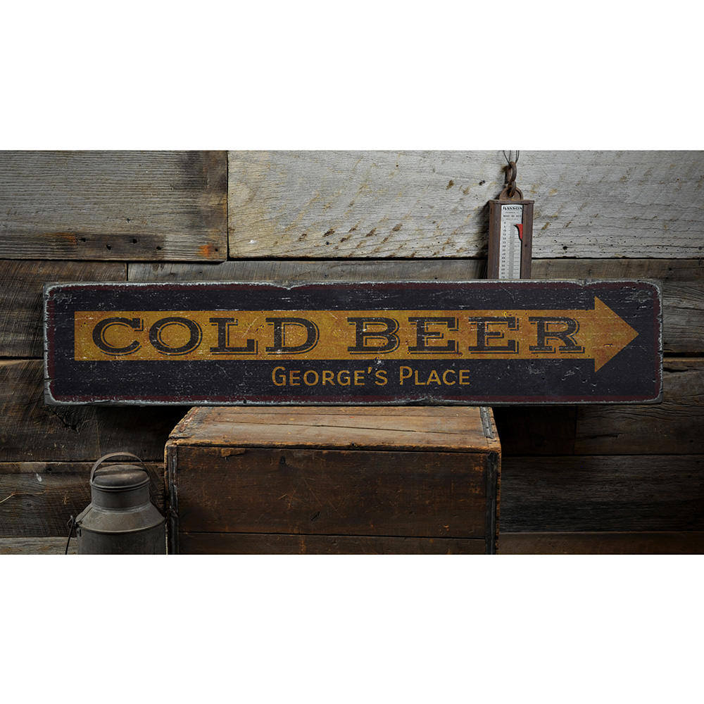 Cold Beer Arrow Vintage Wood Sign