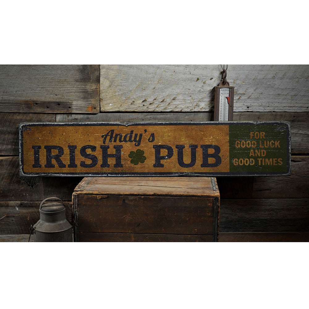 Irish Pub Shamrock Vintage Wood Sign