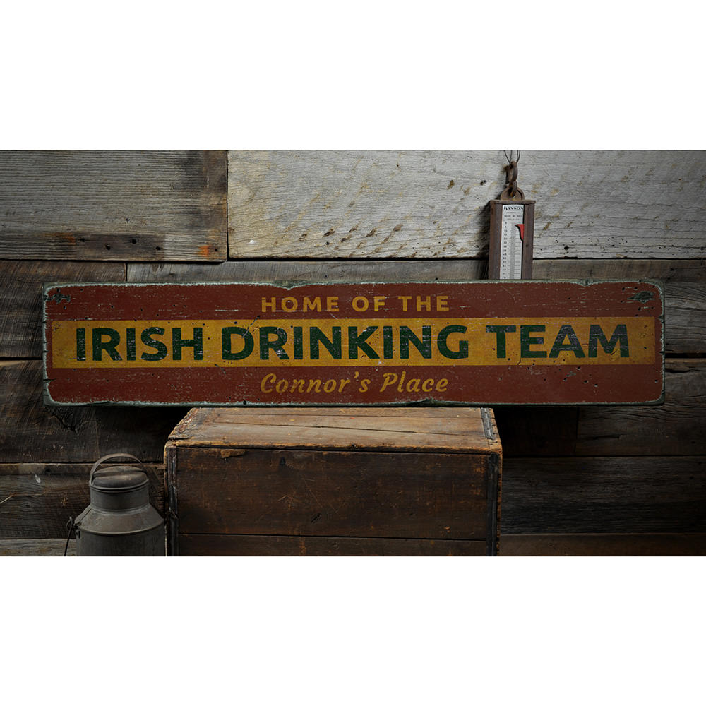 Irish Drinking Team Vintage Wood Sign