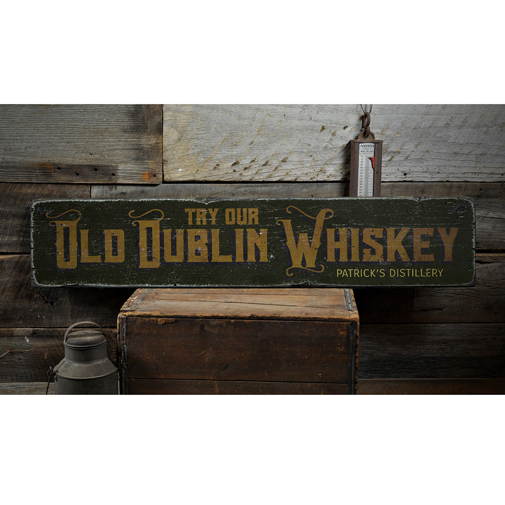 Old Dublin Whiskey Vintage Wood Sign