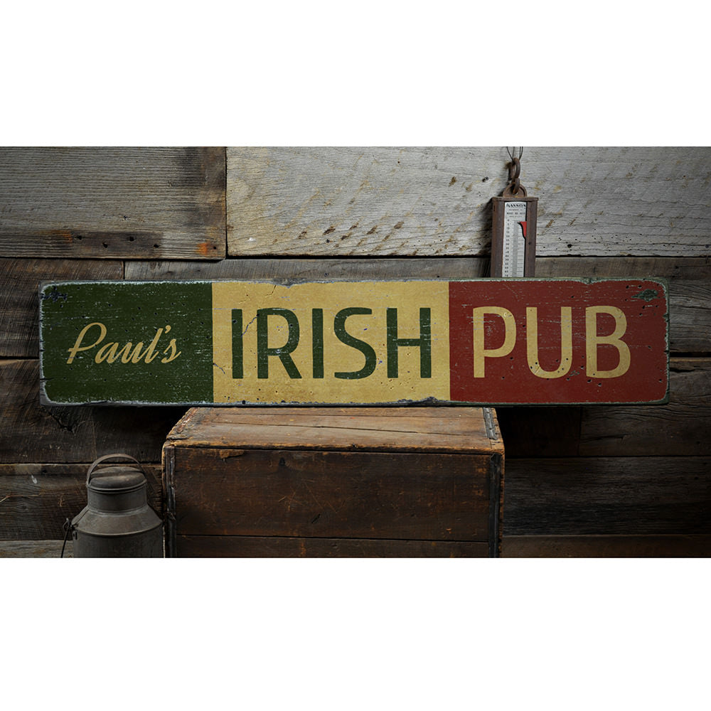 Irish Pub Name Vintage Wood Sign