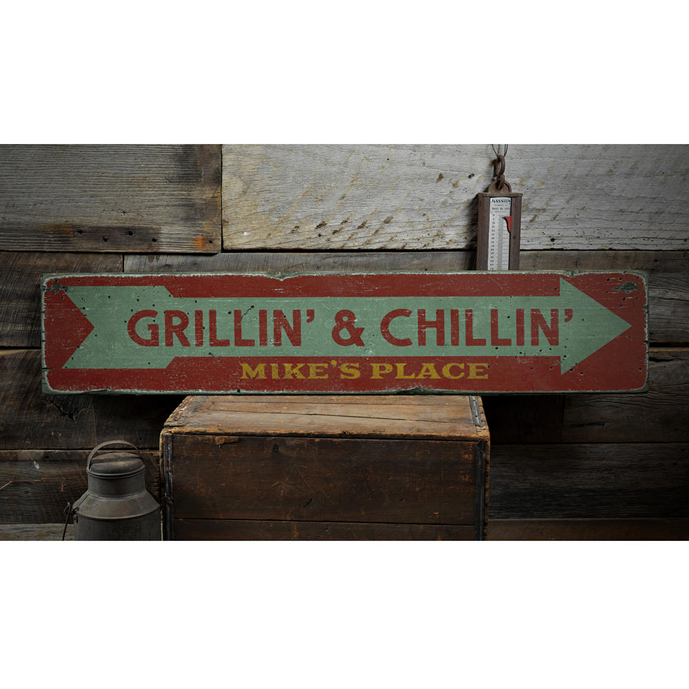 Grillin' & Chillin' Vintage Wood Sign