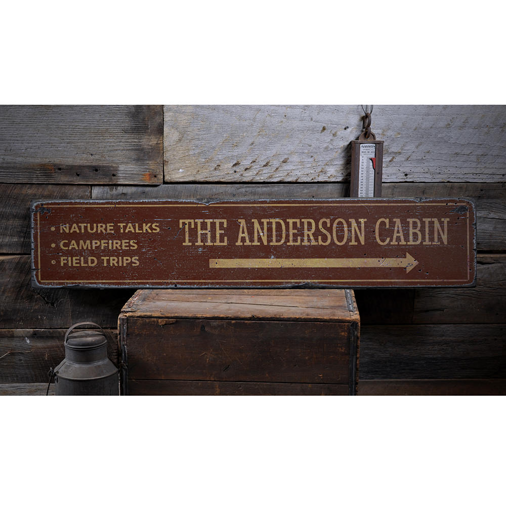 Family Cabin Vintage Wood Sign
