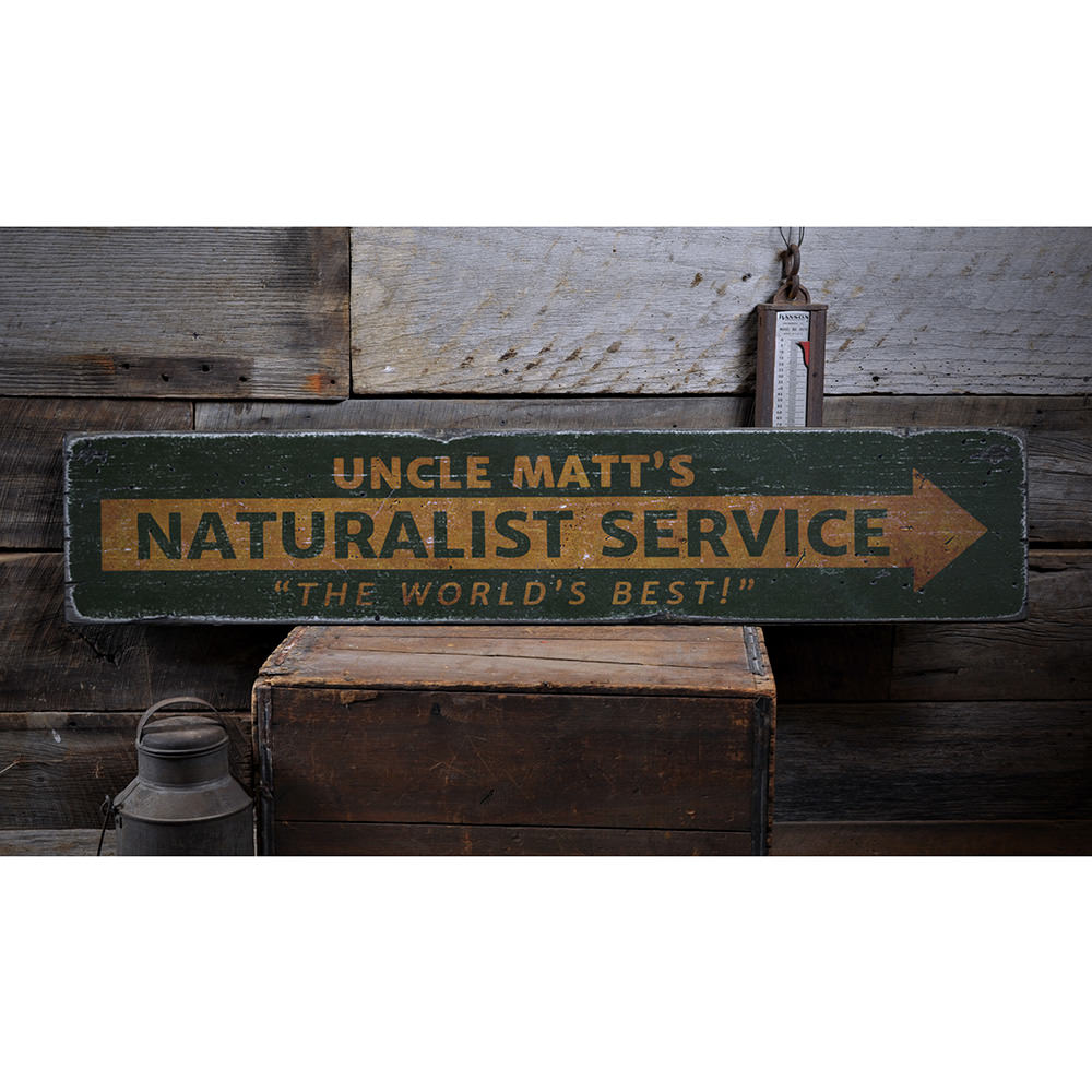 Naturalist Service Vintage Wood Sign