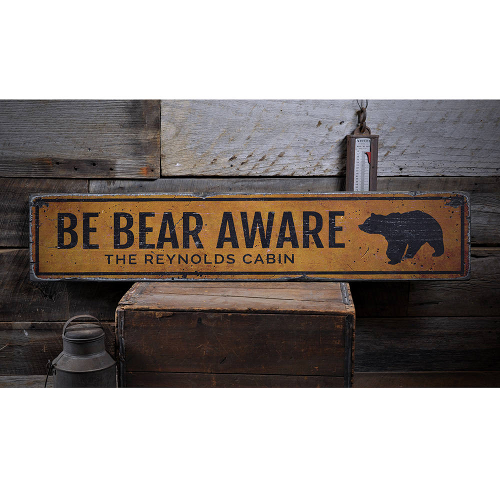 Be Bear Aware Vintage Wood Sign