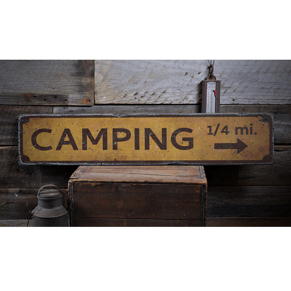 Camping Mileage Vintage Wood Sign