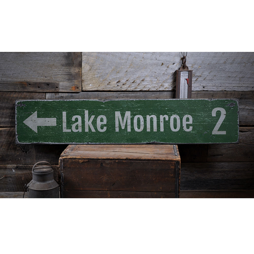 Lake Directional Mileage Vintage Wood Sign