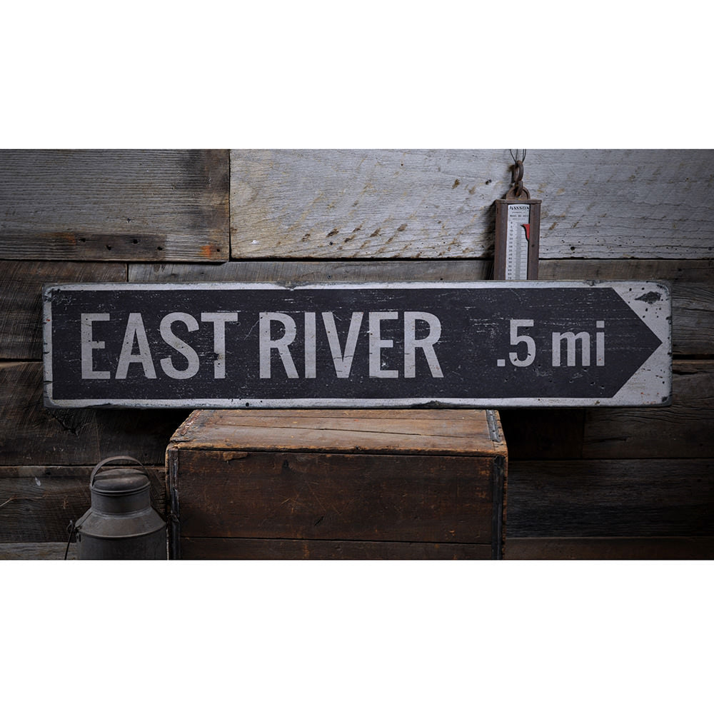 River Arrow Vintage Wood Sign