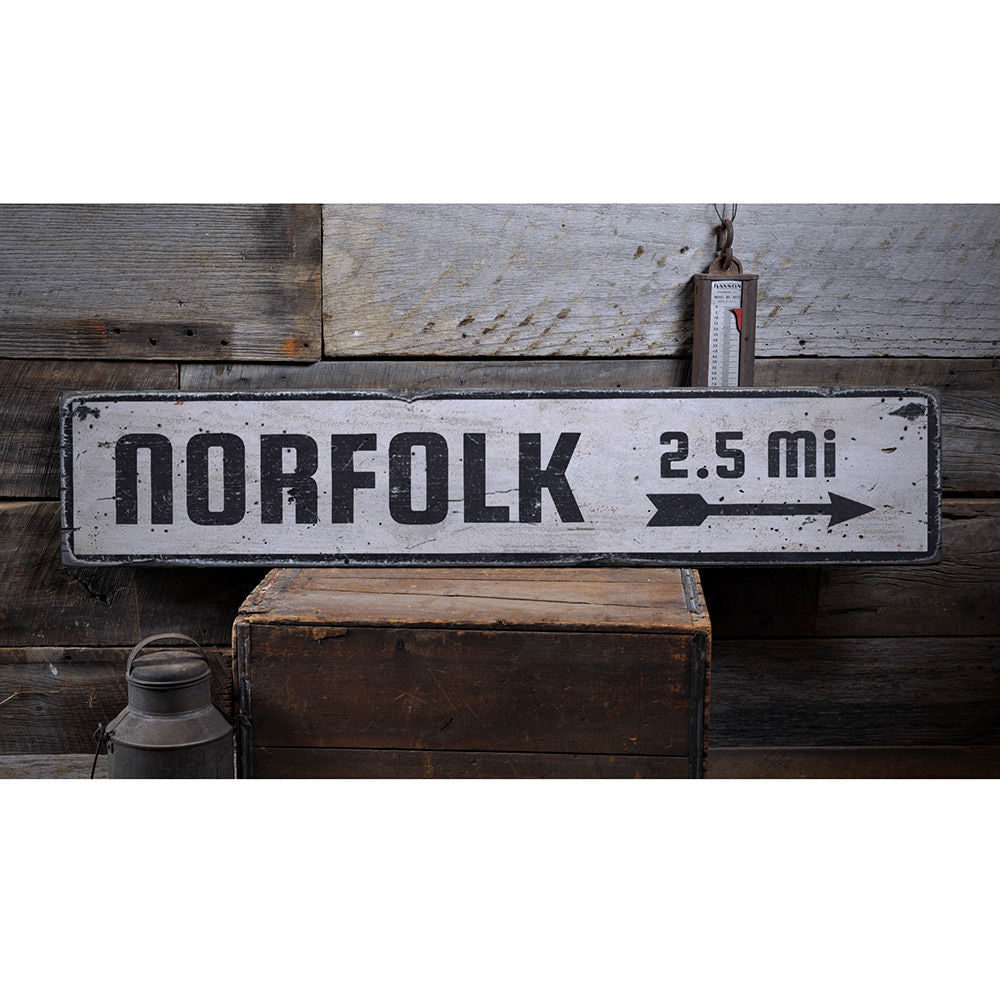 Location Arrow Vintage Wood Sign