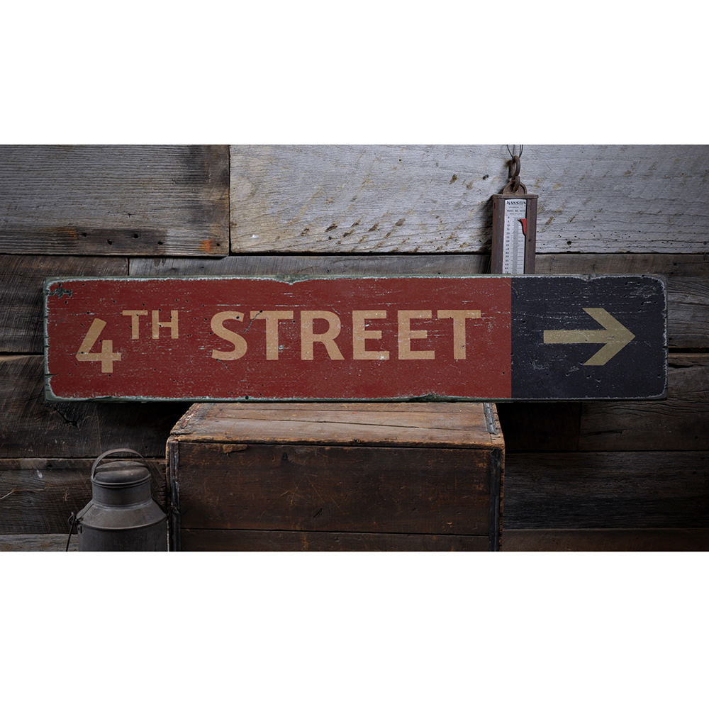 Street Name Directional Arrow Vintage Wood Sign