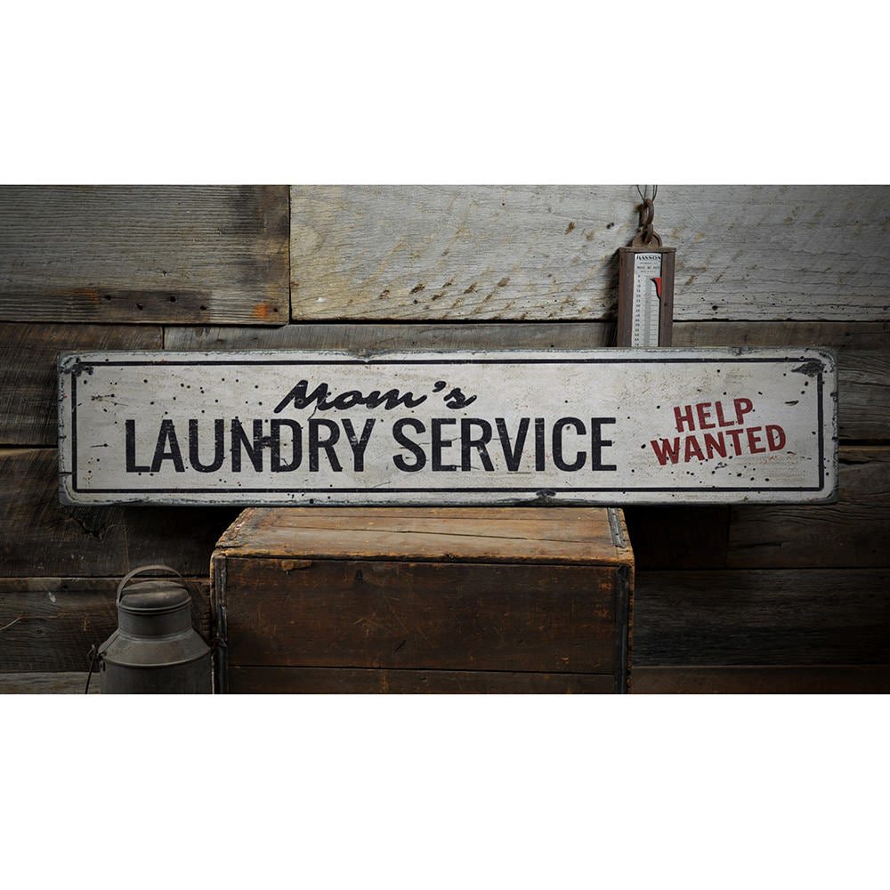 Moms Laundry Service Vintage Wood Sign