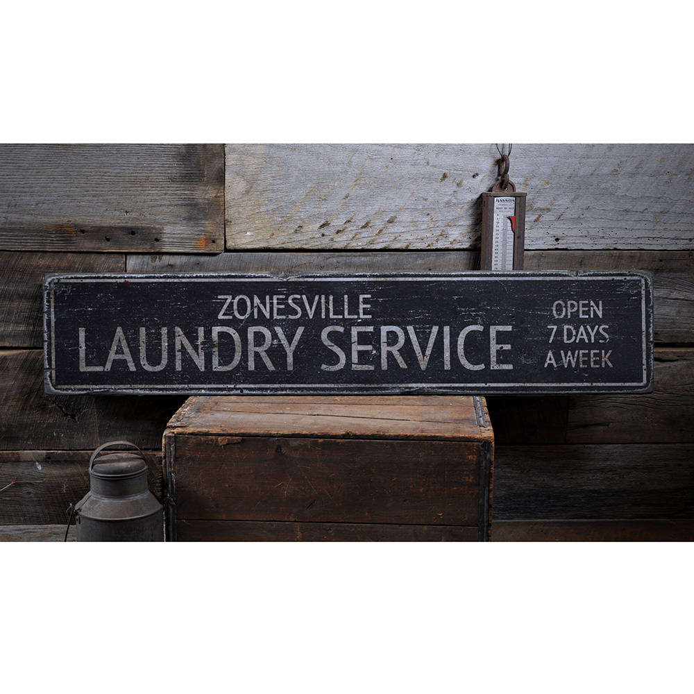 Laundry Service Vintage Wood Sign