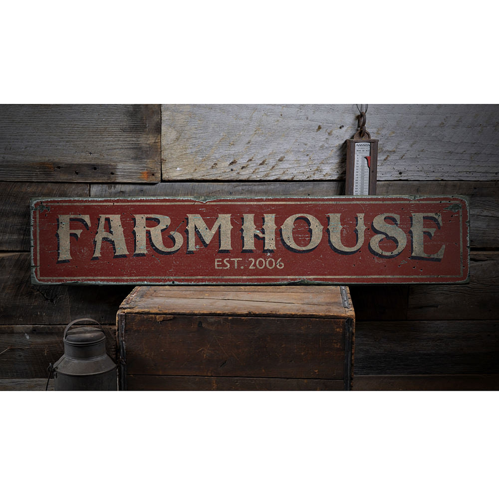 Farmhouse Established Date Vintage Wood Sign
