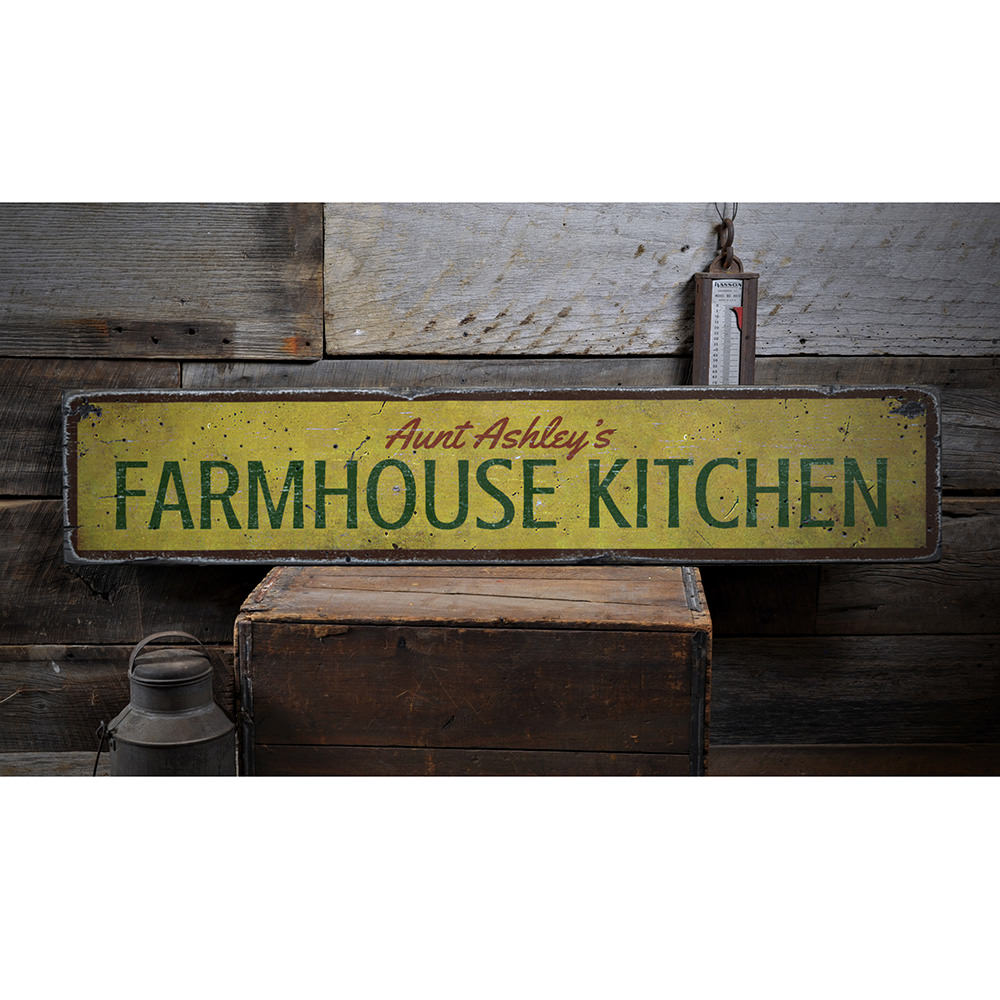 Farmhouse Kitchen Name Vintage Wood Sign