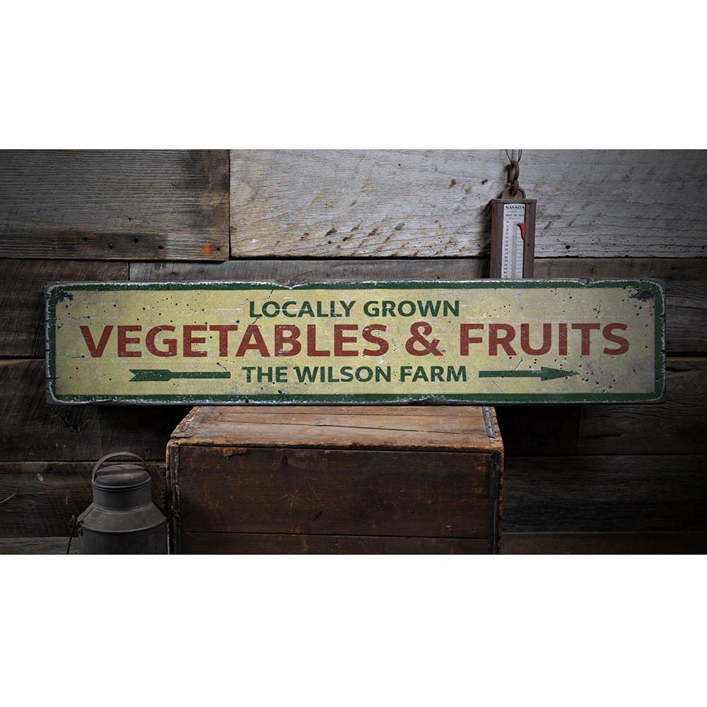 Locally Grown Vegetables & Fruits Vintage Wood Sign