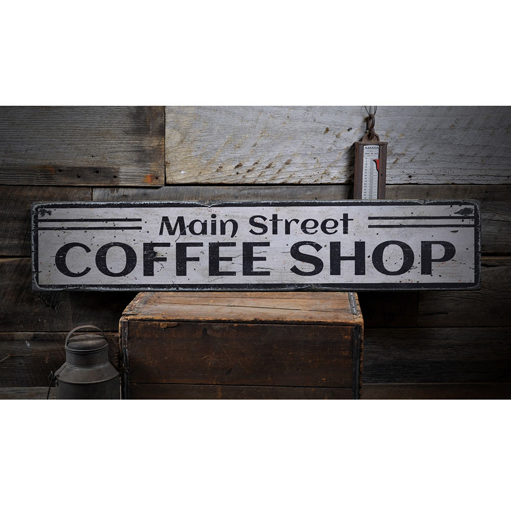 Main Street Coffe Shop Vintage Wood Sign