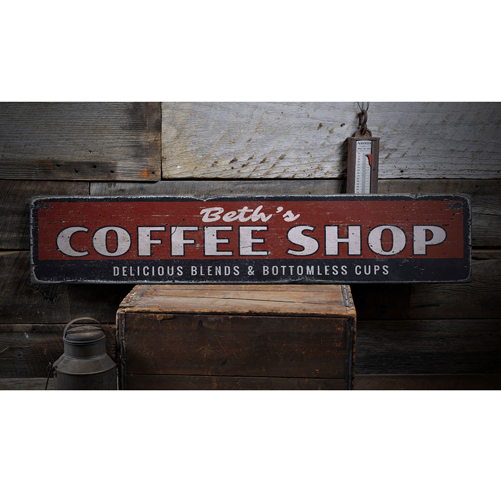 Delicious Blends Coffee Shop Vintage Wood Sign