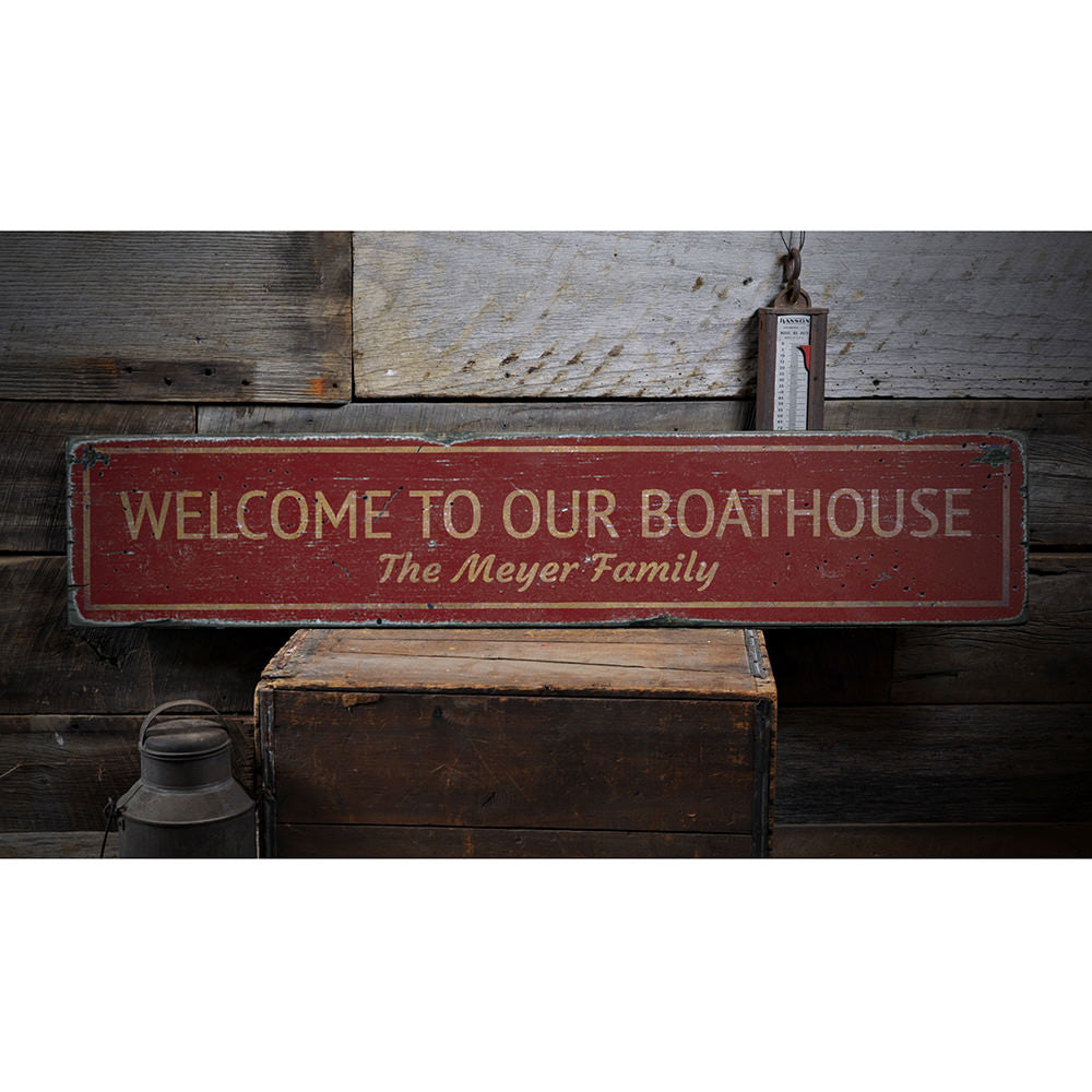 Boat House Welcome Vintage Wood Sign
