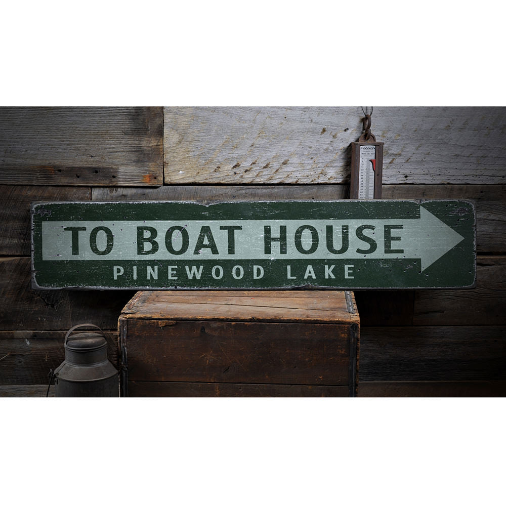 To Boat House Arrow Vintage Wood Sign