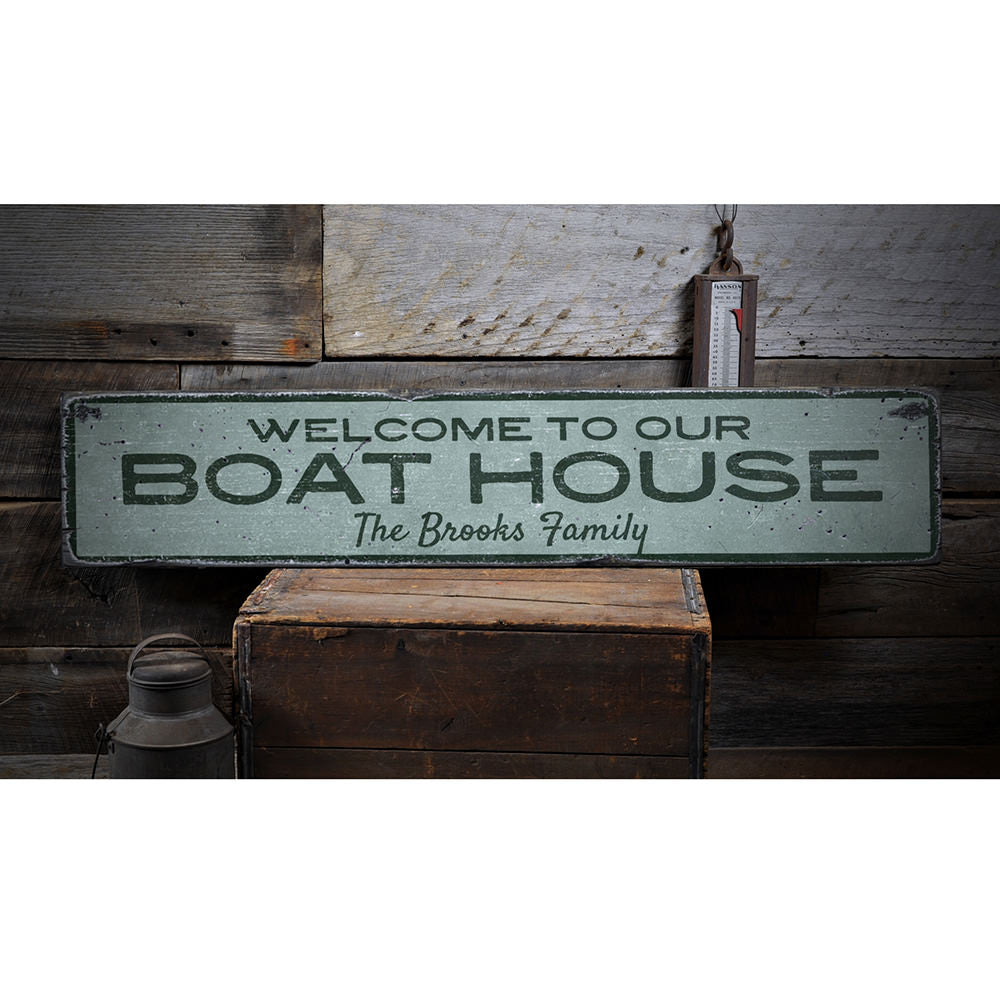 Welcome to Our Boat House Vintage Wood Sign