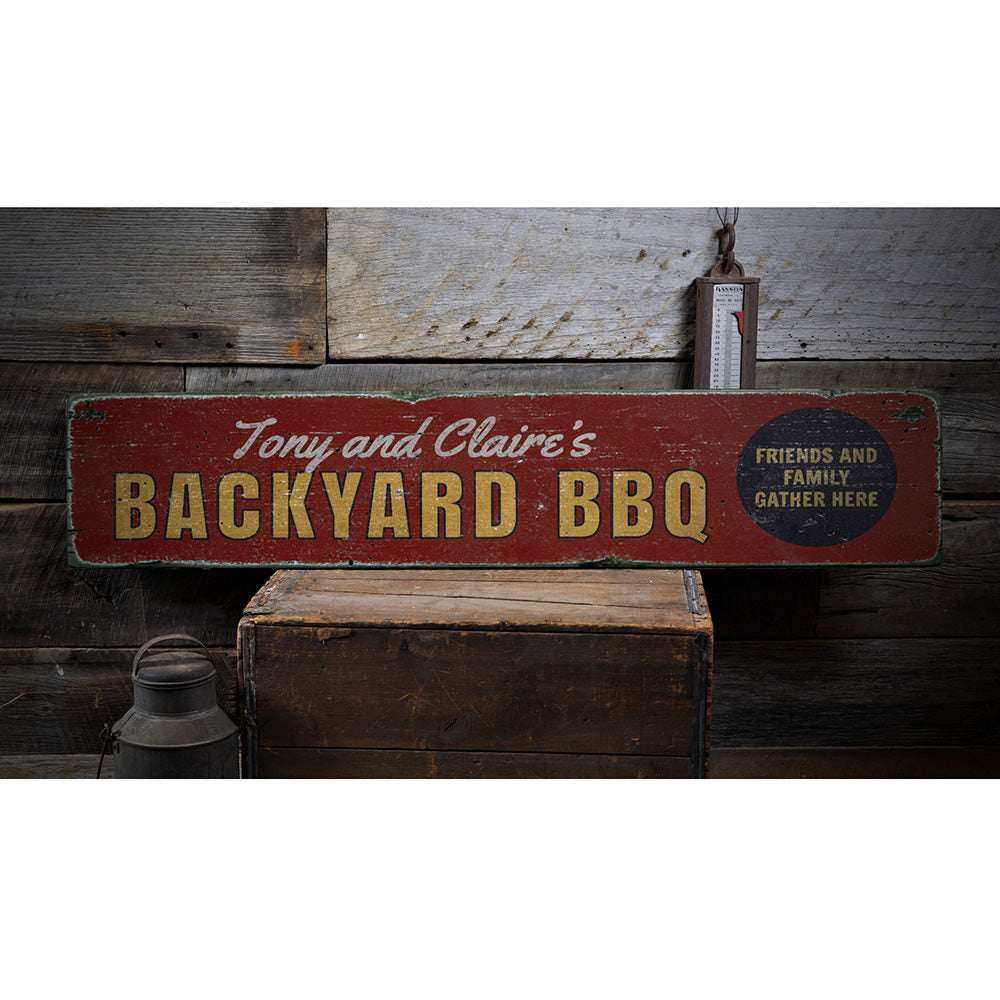 Backyard BBQ Vintage Wood Sign