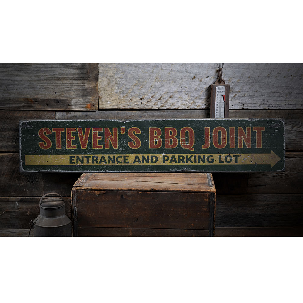BBQ Joint Directional Vintage Wood Sign
