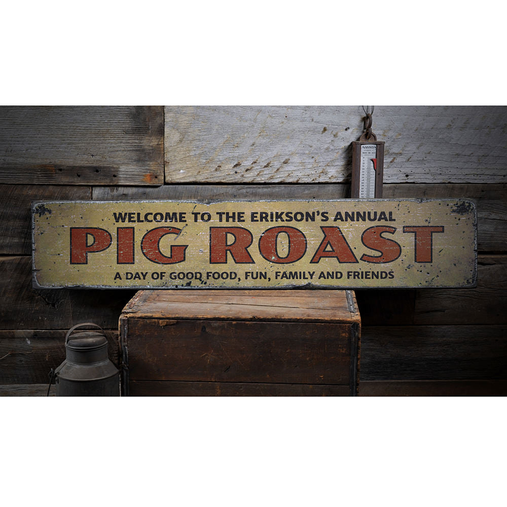 Annual Pig Roast Vintage Wood Sign