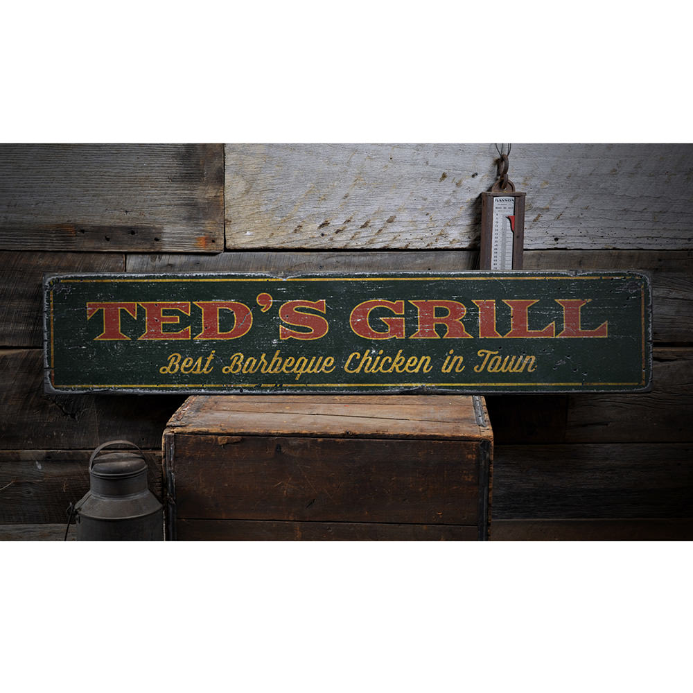 Grill Vintage Wood Sign